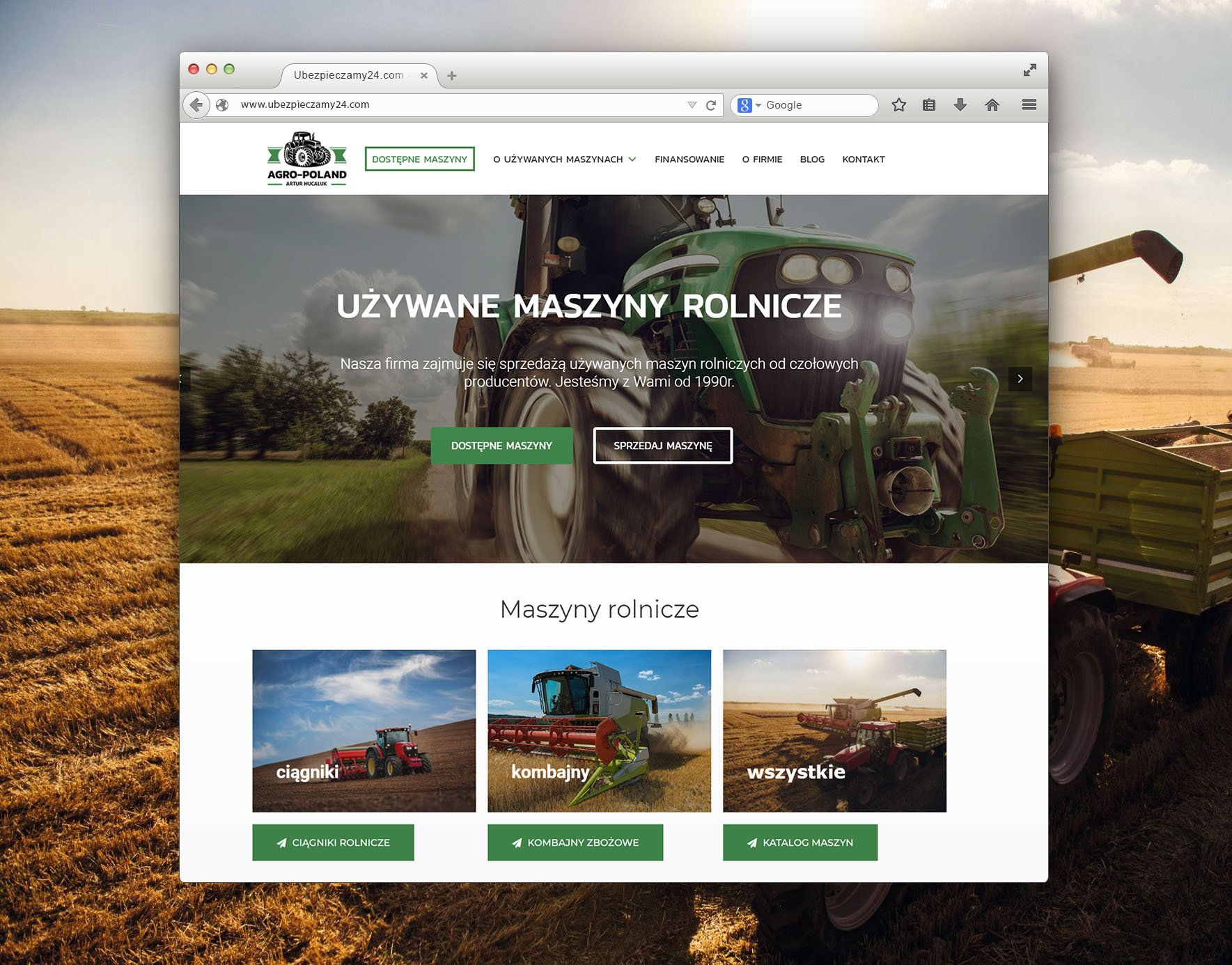 strona ze sprzętem rolniczym z wrocławia